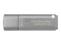 Kingston DataTraveler Locker+ G3 - USB flash-enhet - krypterat - 64 GB - USB 3.0 DTLPG3/64GB